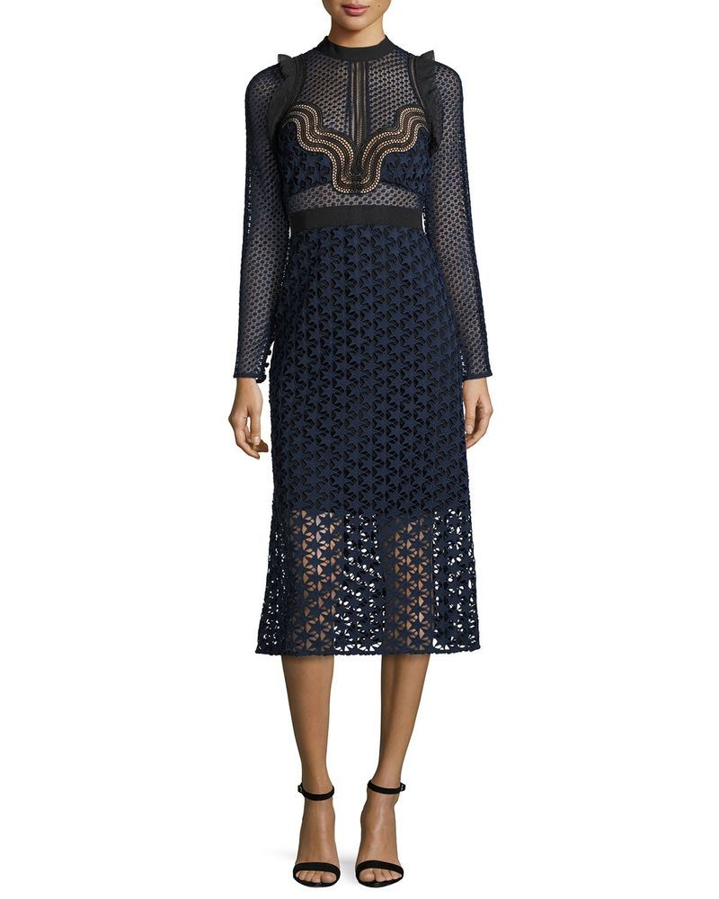 aa0311011965 SELF PORTRAIT Star Repeat Lace Midi Dress Size UK 8/US 4 #fashion #clothing  #shoes #accessories #womensclothing #dresses (ebay link)