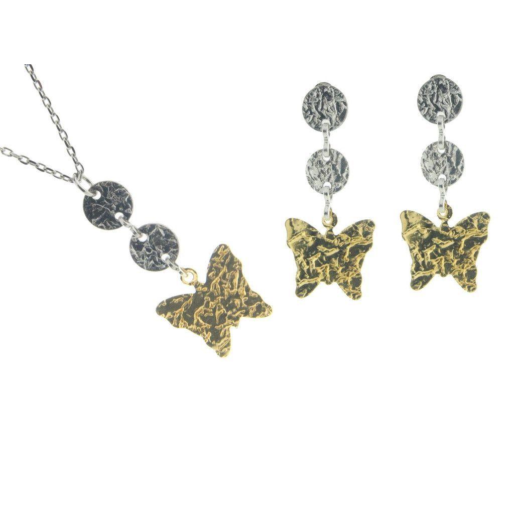 Fluttering hammered butterflies earring necklace set sterling silver