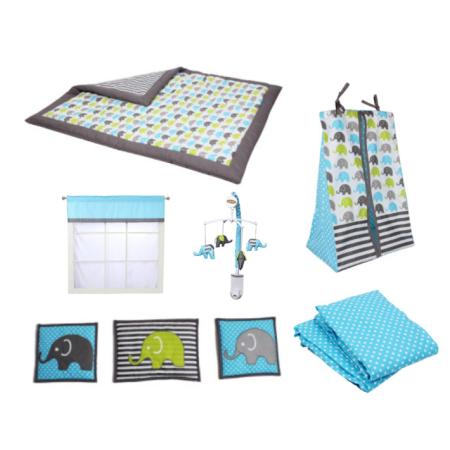 Bacati Elephants 10 Piece Crib Bedding Set Aqua Blue