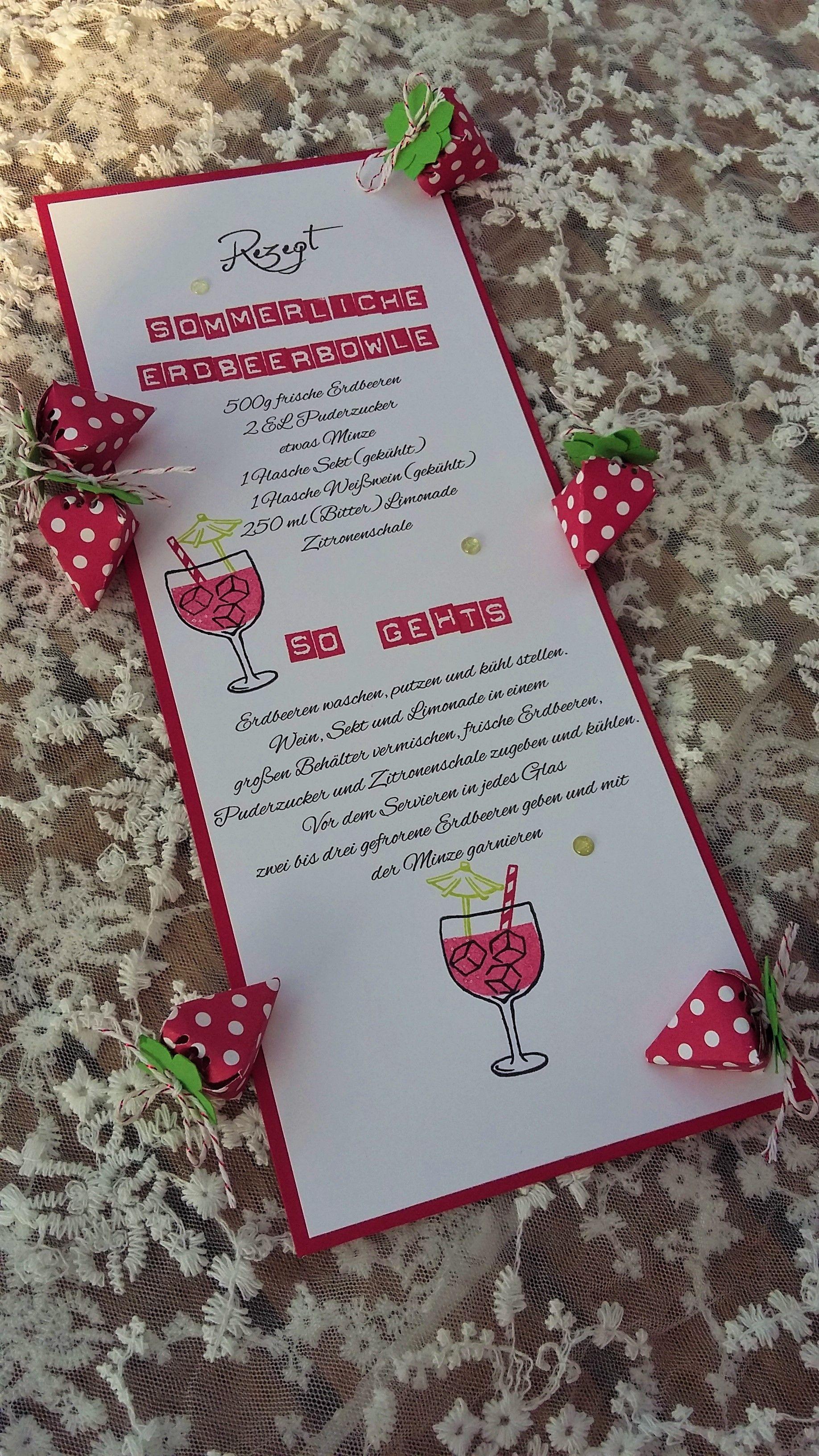 BlogHop Grüße aus der Küche Sommerliche Erdbeerbowle Erdbeeren Glutrot Limette Stampin