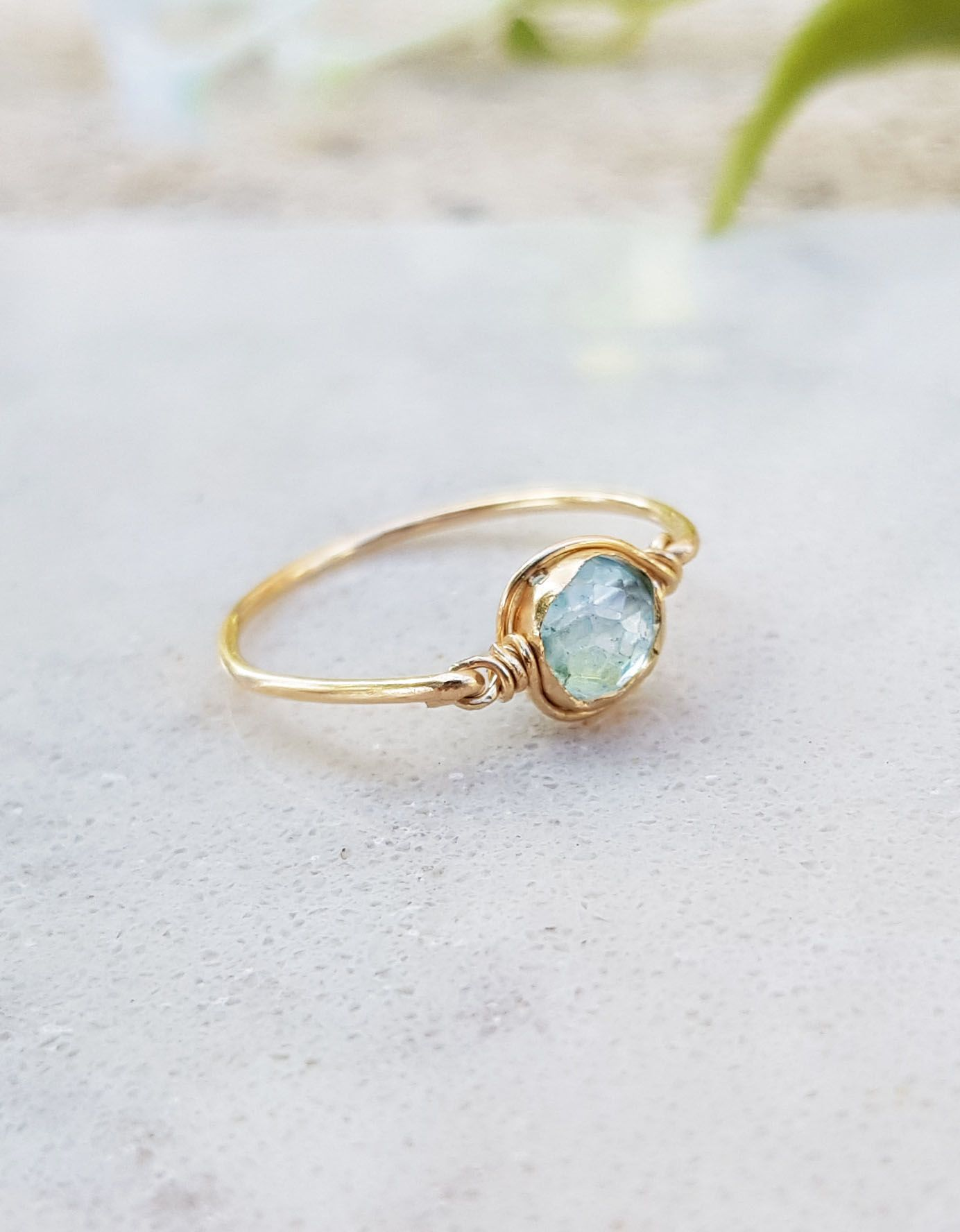 Round Shape Ring 925 Solid Silver Ring Natural Blue Topaz Ring Stacking Ring Unique Jewelry Ring Love  Rings December Birthstone Ring