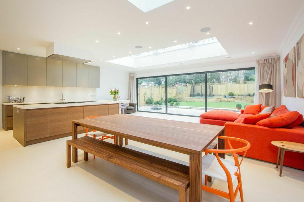 Living room/Dining room/Kitchen extension in neutrals with ...