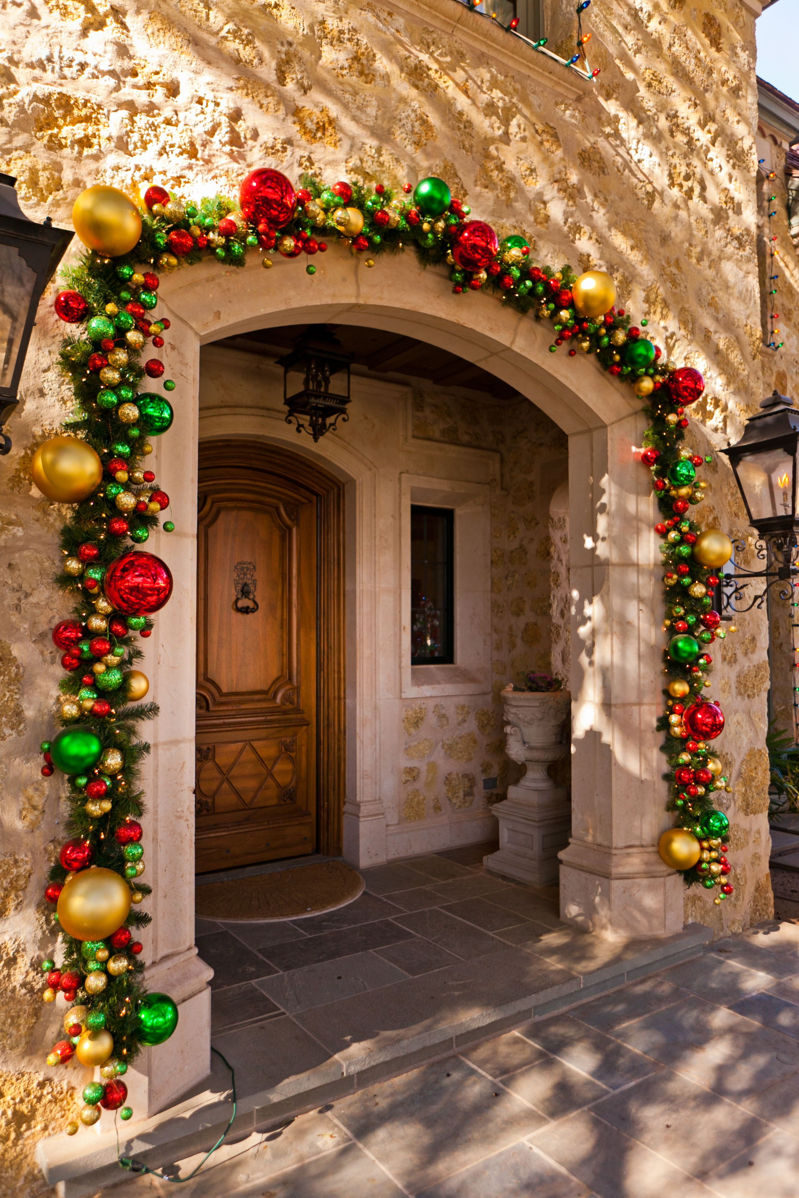 Beautiful Christmas Garland Front Door Home Decor Red Green And Gold Decorations Simple