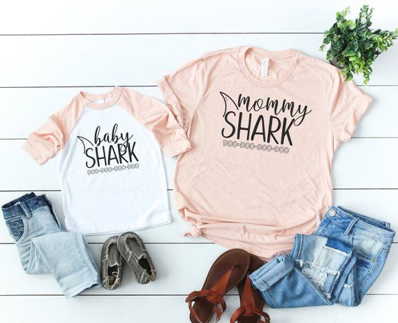 fd4bc6bb Mommy Shark, Baby Shark Matching Mommy and Me Shirt Mom and Baby Matching  Outfits Mom and Baby Shirt