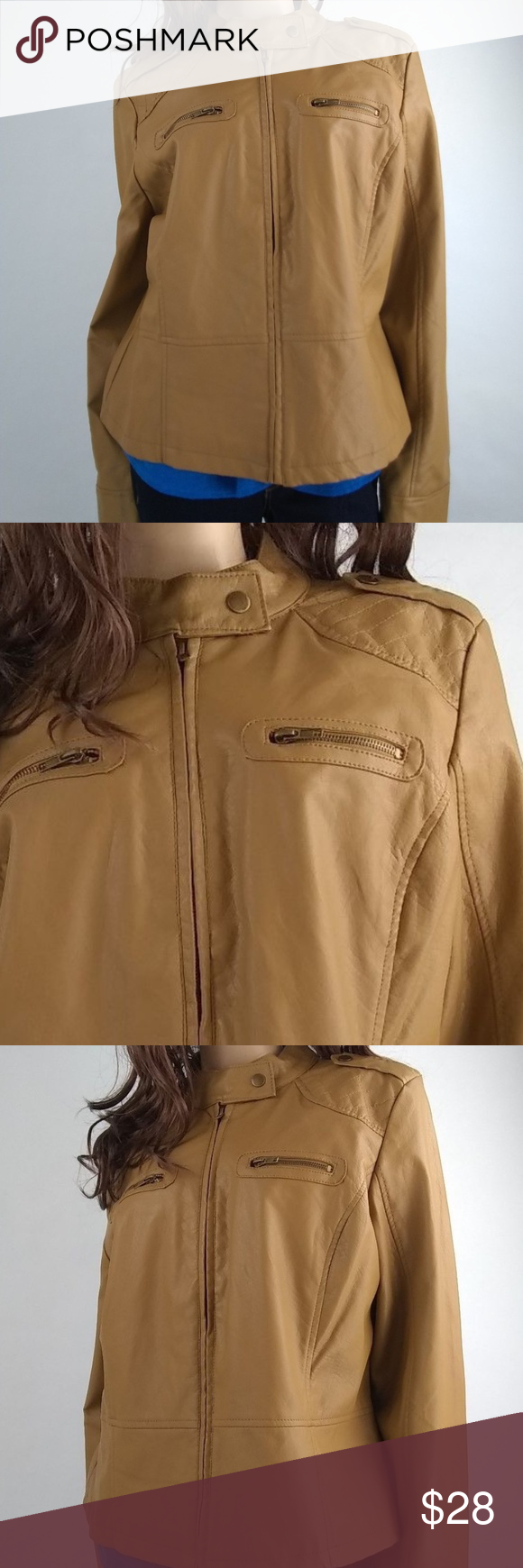 I.B. Diffusion Tan Faux Leather Zip Jacket XL Leather