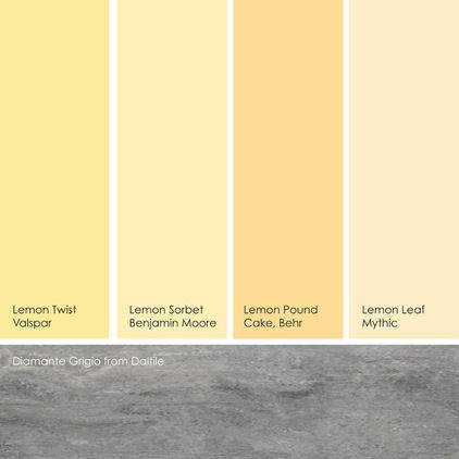 from left to right: lemon twist from valspar, lemon sorbet from