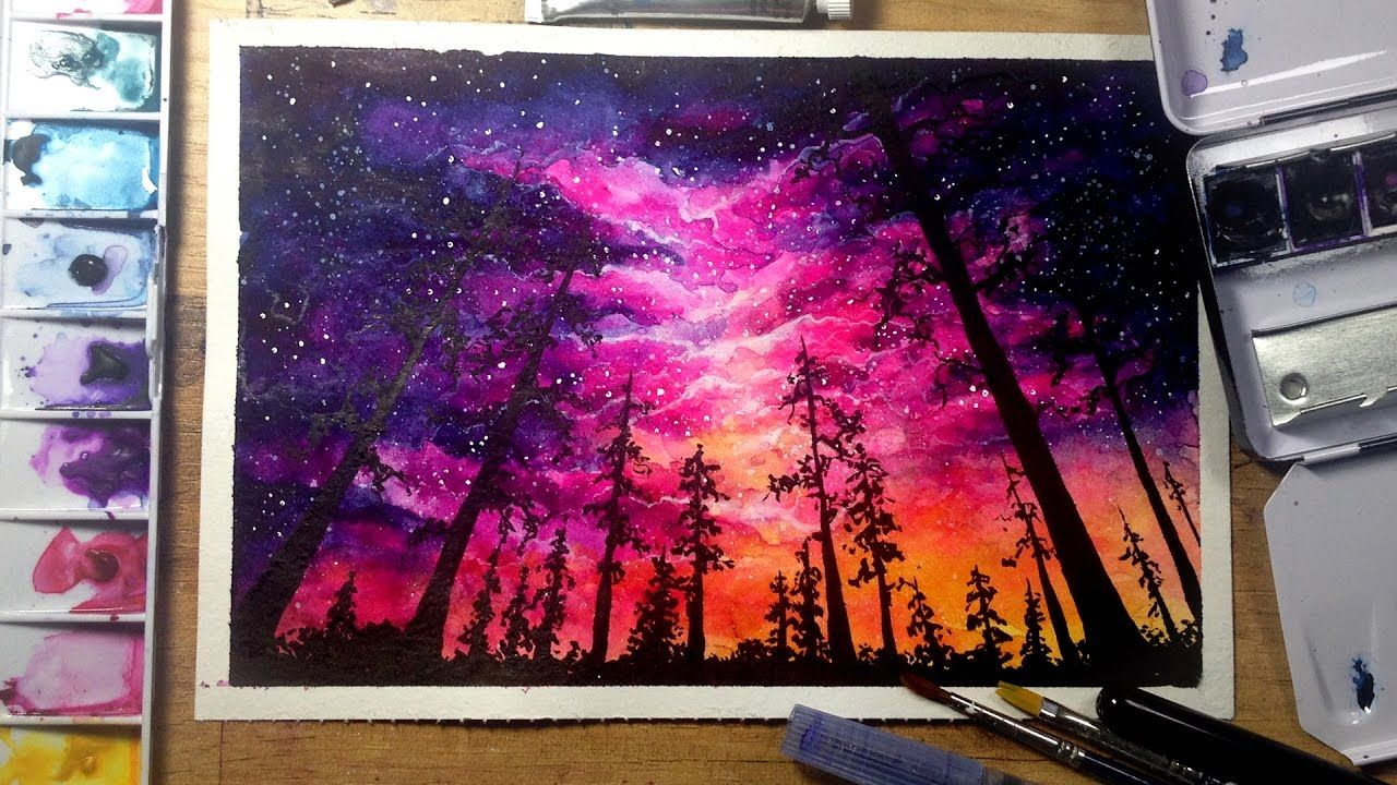Night Sky Speed Painting Watercolor Gouache Pastellkunst