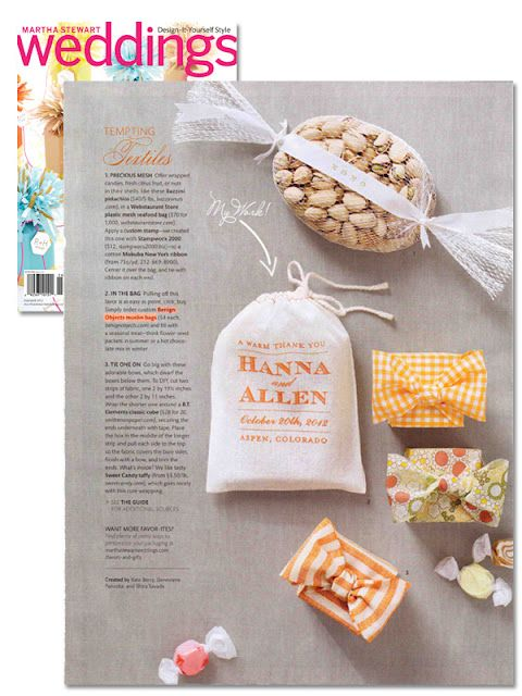 favor bag by rachel wiles featured in martha stewart weddings