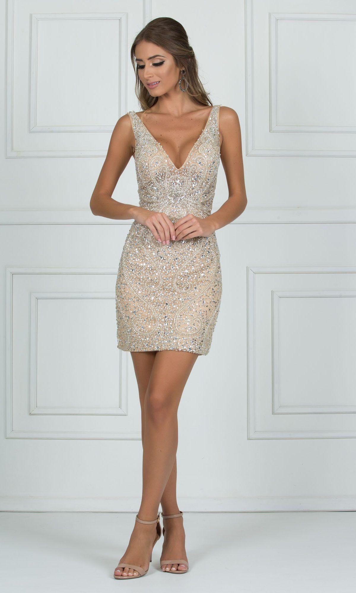 97db70a468 vestido curto dourado com pedraria