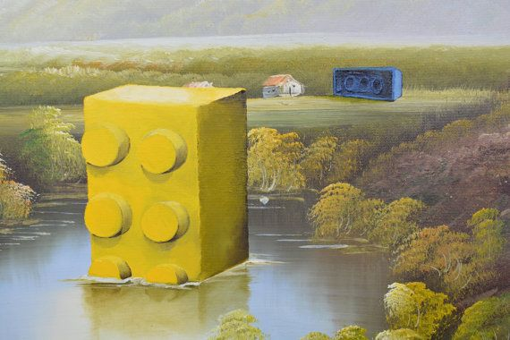 Lego Original Oil Painting Intelligent Design Repurposed Thrift Painting Original Oil Painting Painting Oil Painting