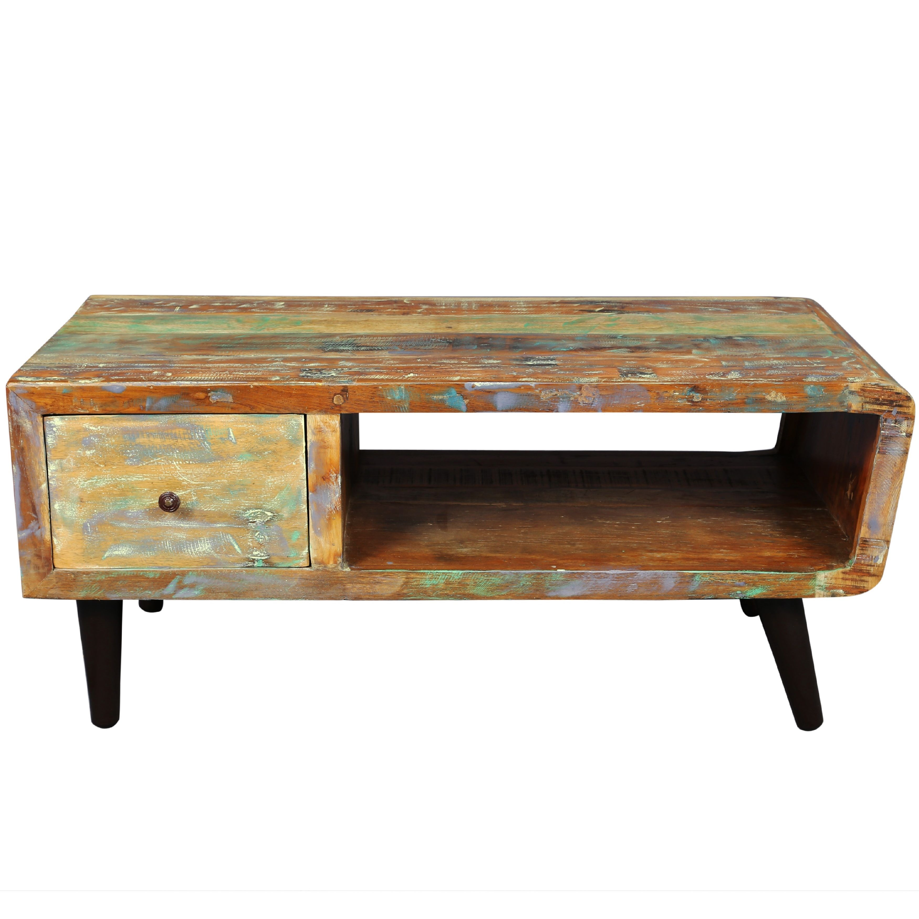 The retro styled route coffee table features one deep drawer and