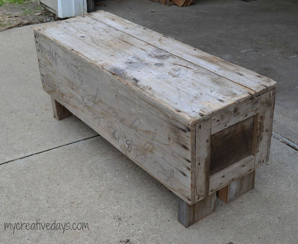 Old wood box and leftover wood becomes charming bench wood boxes