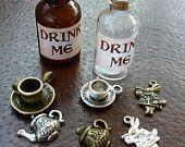 Wholesale Lot Steampunk Alice in Wonderland necklace pendant charm Drink me bottle tea cup tea pot rabbit 13 antique silver bronze brass