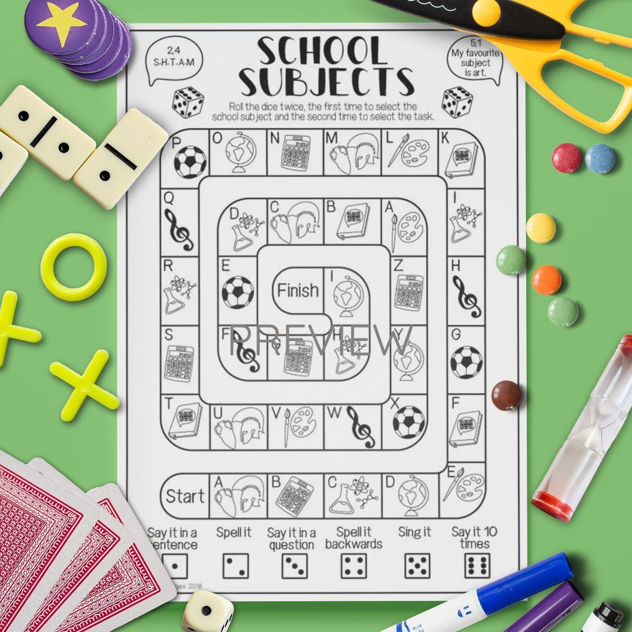 School Subjects Board Game