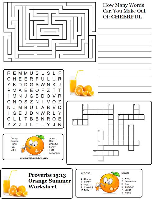 orange summer worksheet proverbs 15 13 for children 39 s church children 39 s church pinterest. Black Bedroom Furniture Sets. Home Design Ideas