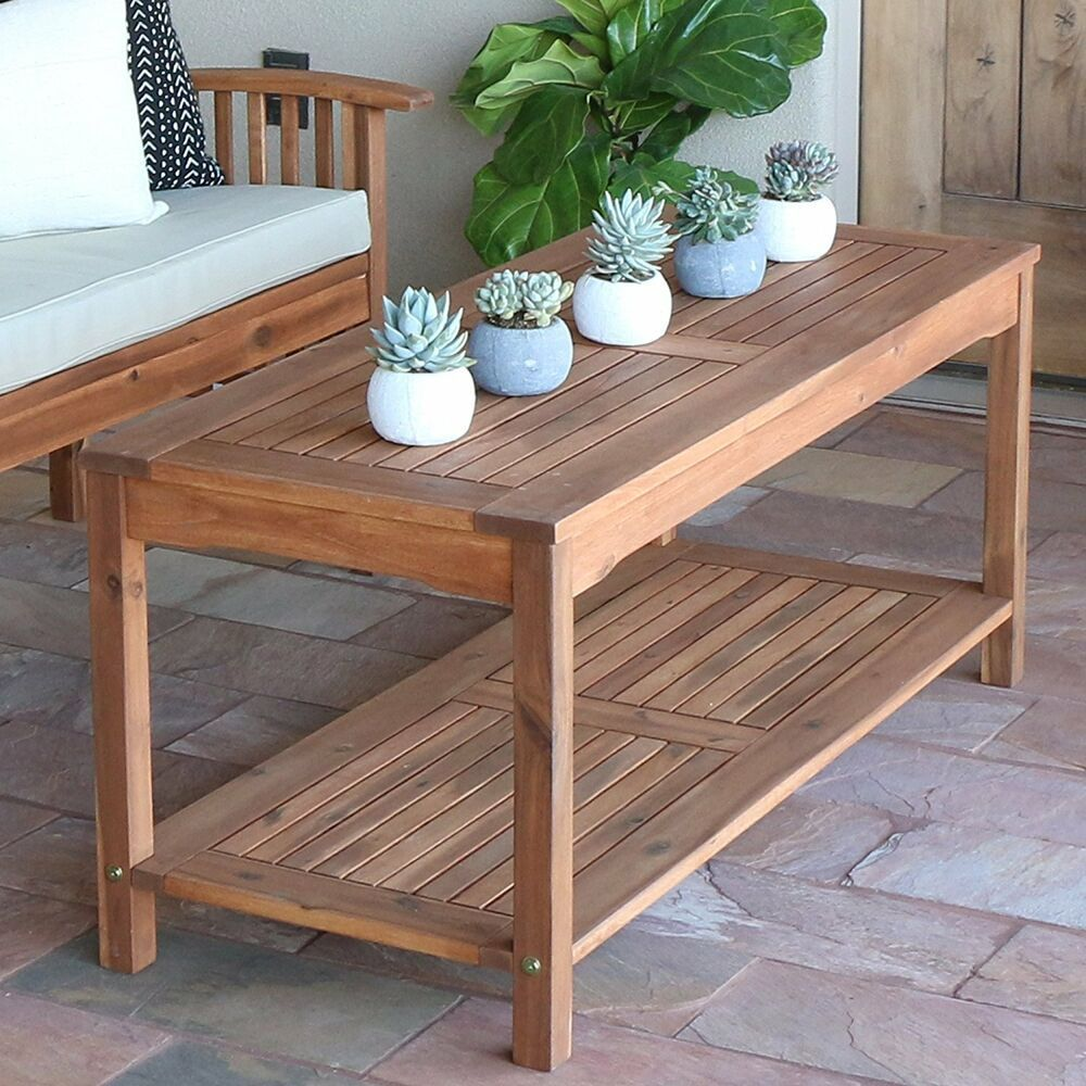 Details about patio solid wood coffee table bottom shelf