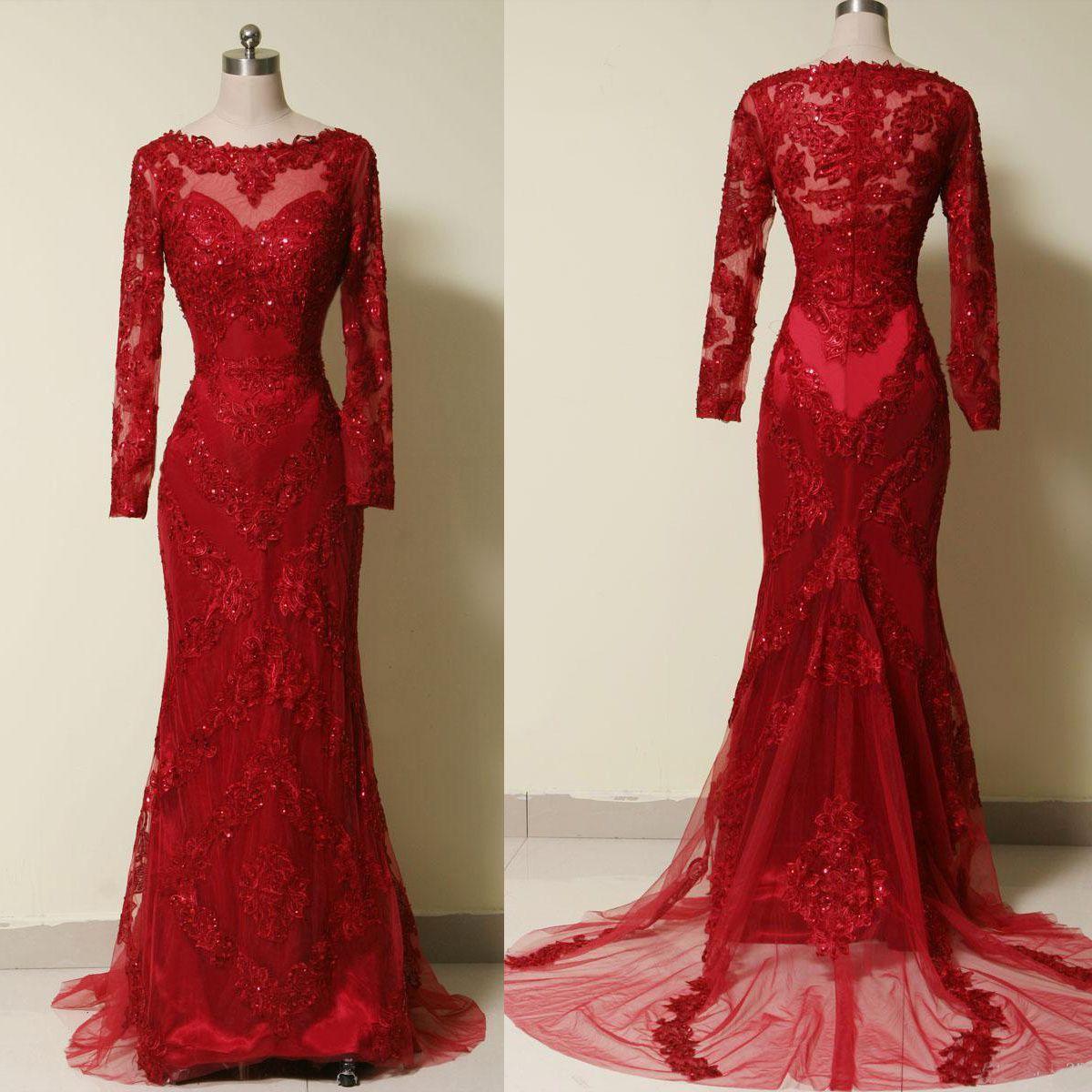 burgundy prom dresseslong sleeves prom dressessheer neck