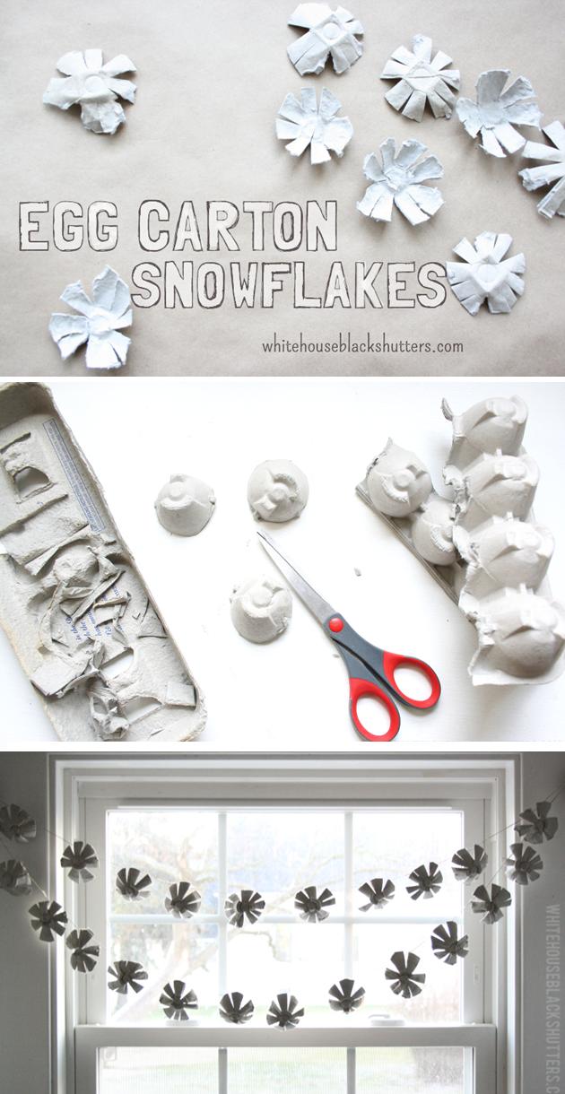 hübsche Schneeflocken können ganz einfach aus einem Eierkarton ausgeschnitten werden. So geht das Basteln für Kinder ganz einfach.