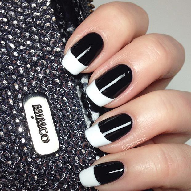 50 Best Black And White Nail Designs Stayglam White Tip Nails White Nail Designs White Nail Art