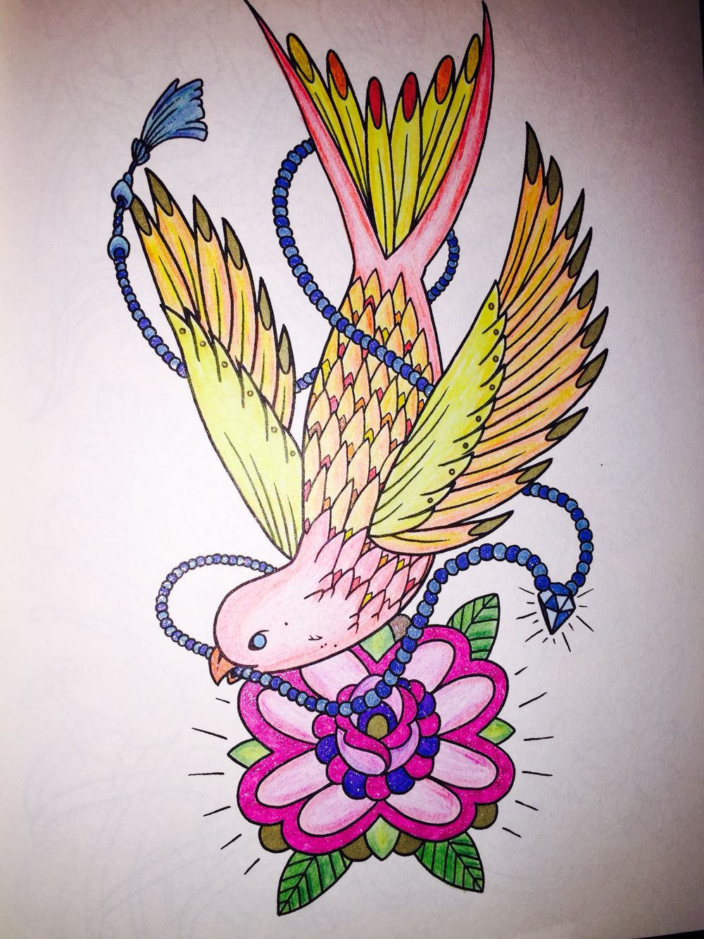 The tattoo coloring book megamunden - Swallow With Pearls And Rose From Megamunden S Tattoo Coloring Book Using Various Glitter Gel Pens And