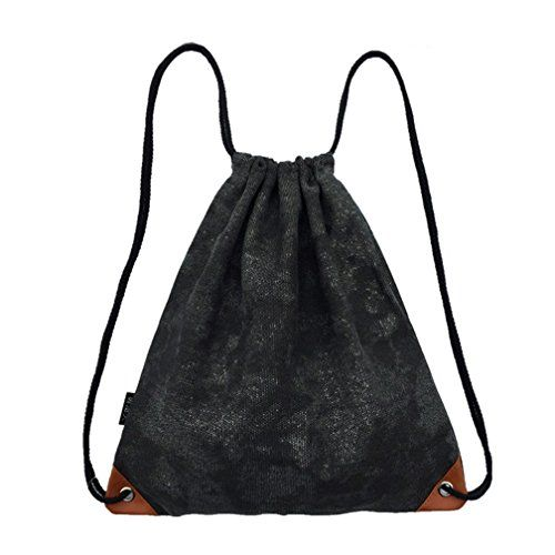LaReine Gym Drawstring Bag Black Coating Canvas Backpack     You can find  more details by visiting the image link. ab5c2b5e19