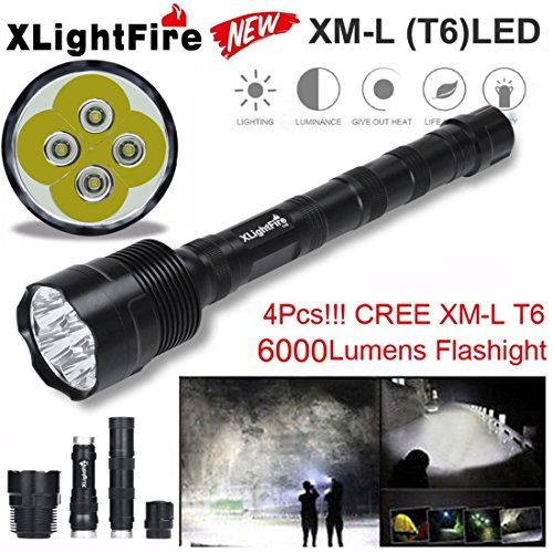 Bright LED torch flashlight super bright 6000 Lumens Zoomable takes AA Battery