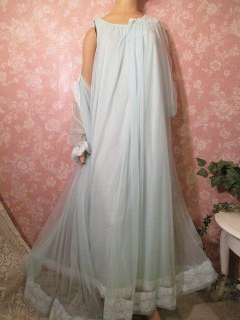 0533640d47 Vintage Nightgown Peignoir Set Sheer blue Chiffon 60s Long Miss Elaine Gold  Label