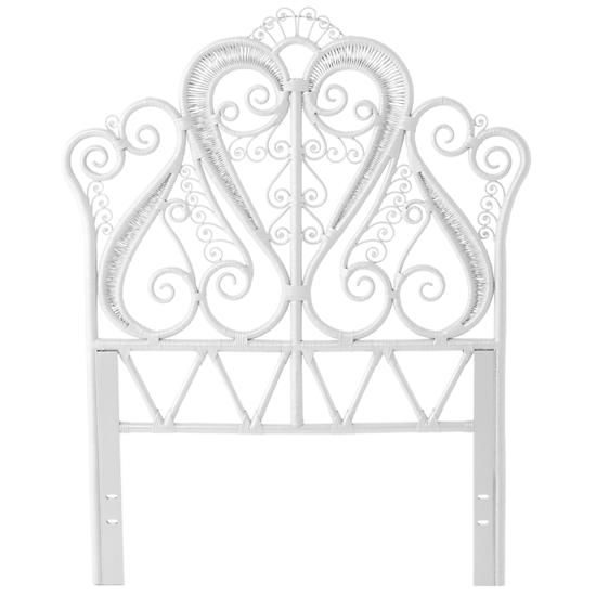 I'm not sure about it being made in Indonesia & having mahogany components ~ Aria Woven Headboard (White) | The Land of Nod