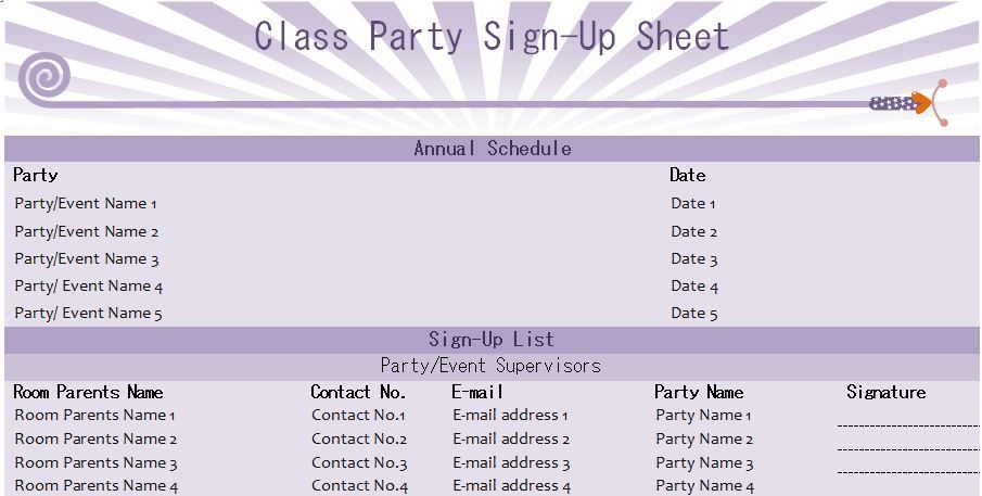 Class Party SignUp Sheet Template  Microsoft Templates