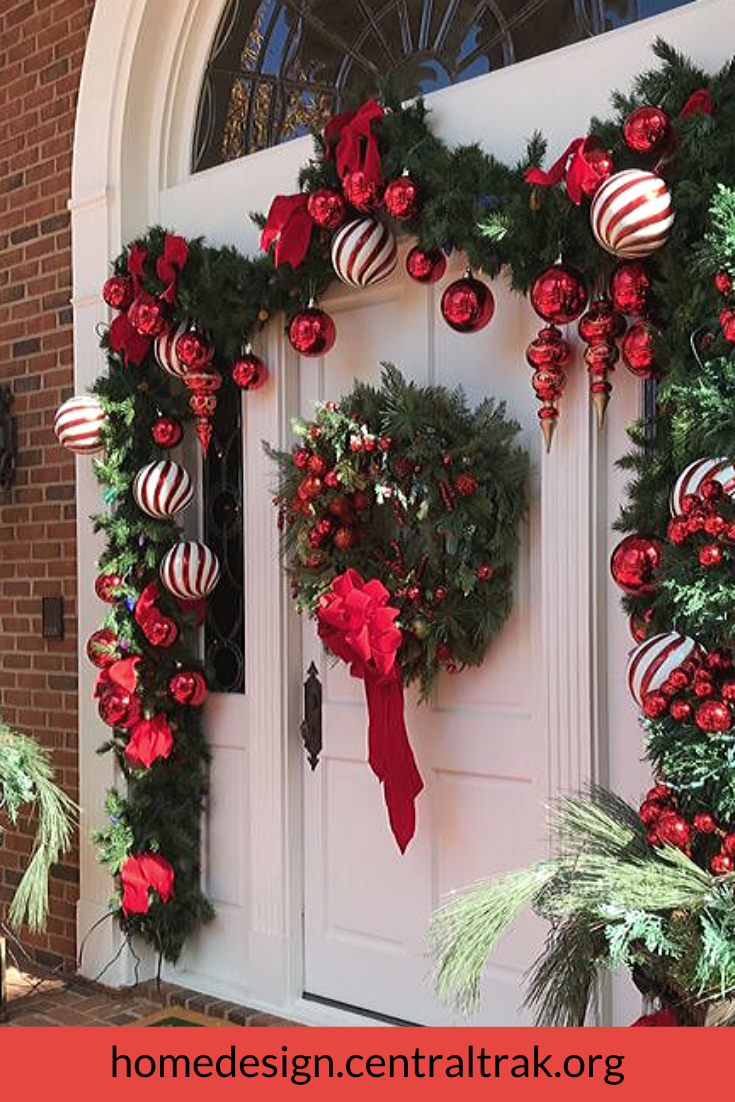 Awesome Outdoor Christmas Decorations For A Winter Wonderland Outdoor Christmas Garland Front Door Christmas Decorations Christmas Door Decorations