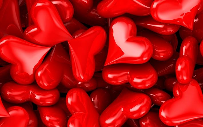 Herunterladen Hintergrundbild 3d Rotes Herz Valentinstag 14