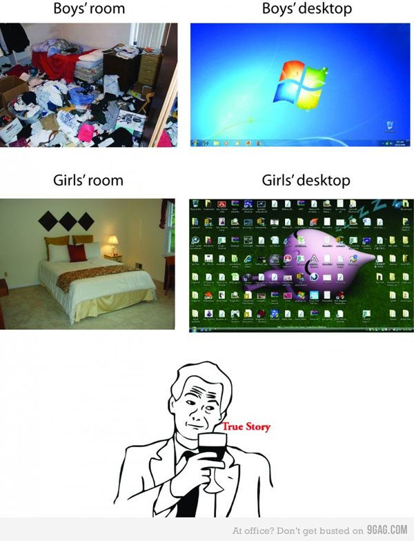 comparison between boys and girls rooms and desktops lol haha