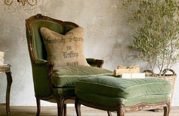 Entzuckend Französische Landhausmöbel Polstermöbel Liegesofa Grün