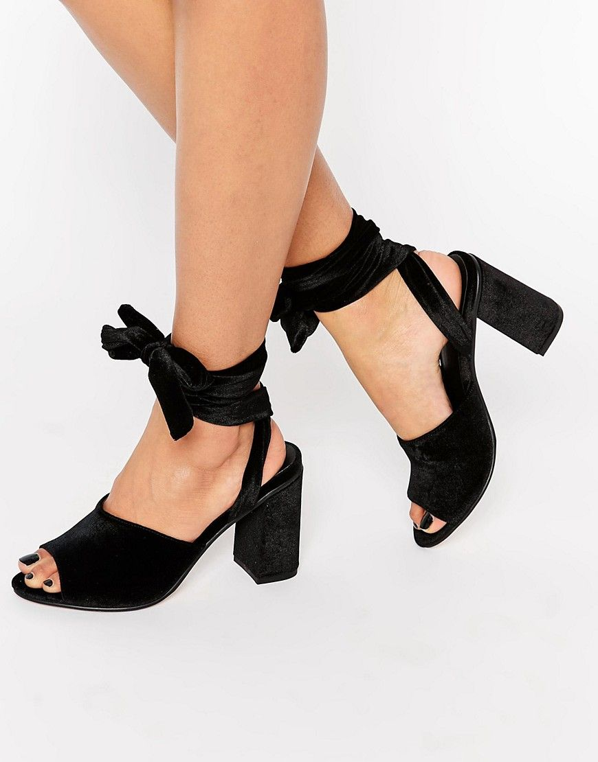 aabf9951507 Image 1 of ASOS HITCH A RIDE Lace Up Mules Black Mules Shoes