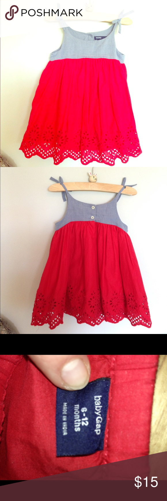 38345bbc23a Baby GAP Chambray and Red Eyelet Dress! Perfect 4th of July Dress! It s in