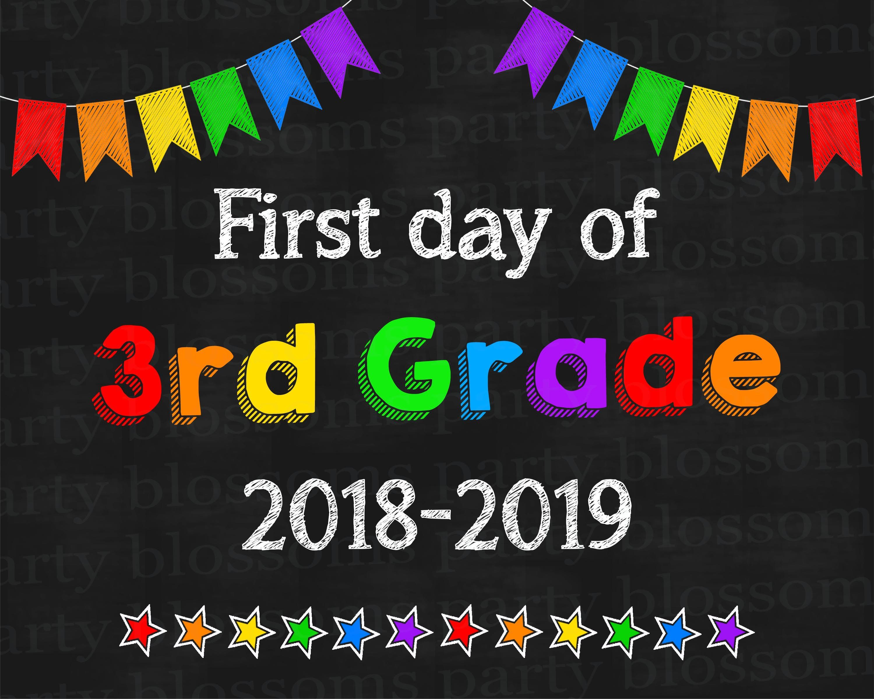 photograph regarding First Day of 3rd Grade Sign Printable known as Quick obtain Rainbow To start with Working day of 3rd 3rd Quality Listed here I