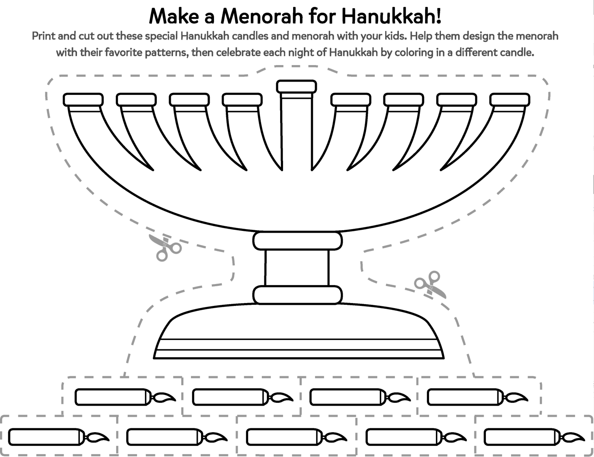 Help Your Child Make A Hanukkah Menorah That S Truly Her Own With This Printable Activity Hanukkah Crafts Menorah Hannukah Activities [ 1546 x 2006 Pixel ]