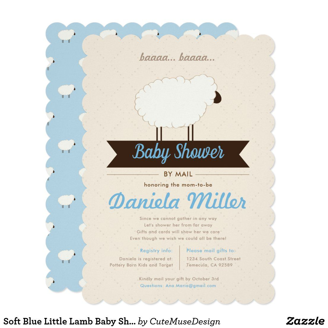 Soft Blue Little Lamb Baby Shower by Mail Invitati