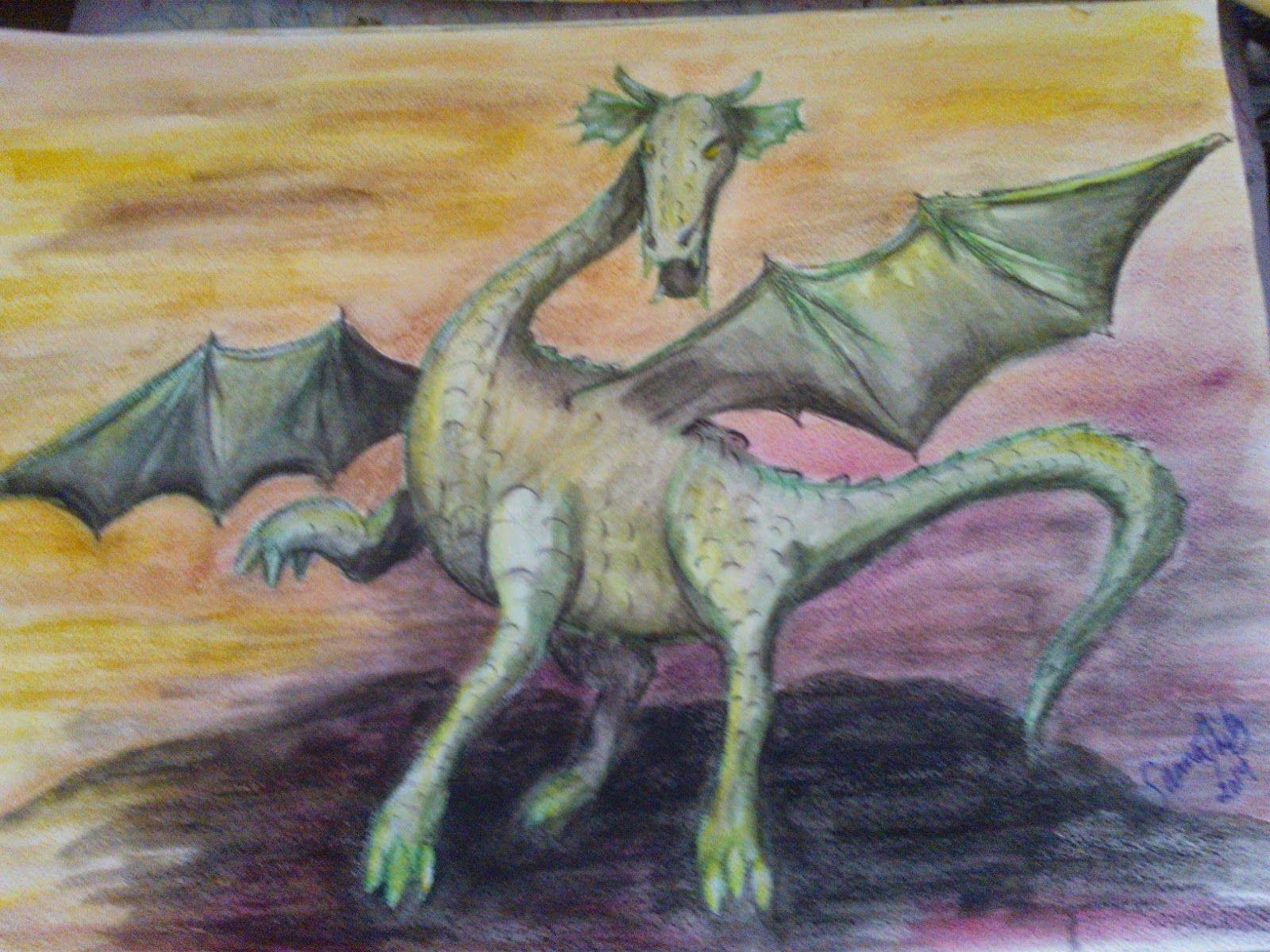 Lohikäärme maalaukseni kokoa A3