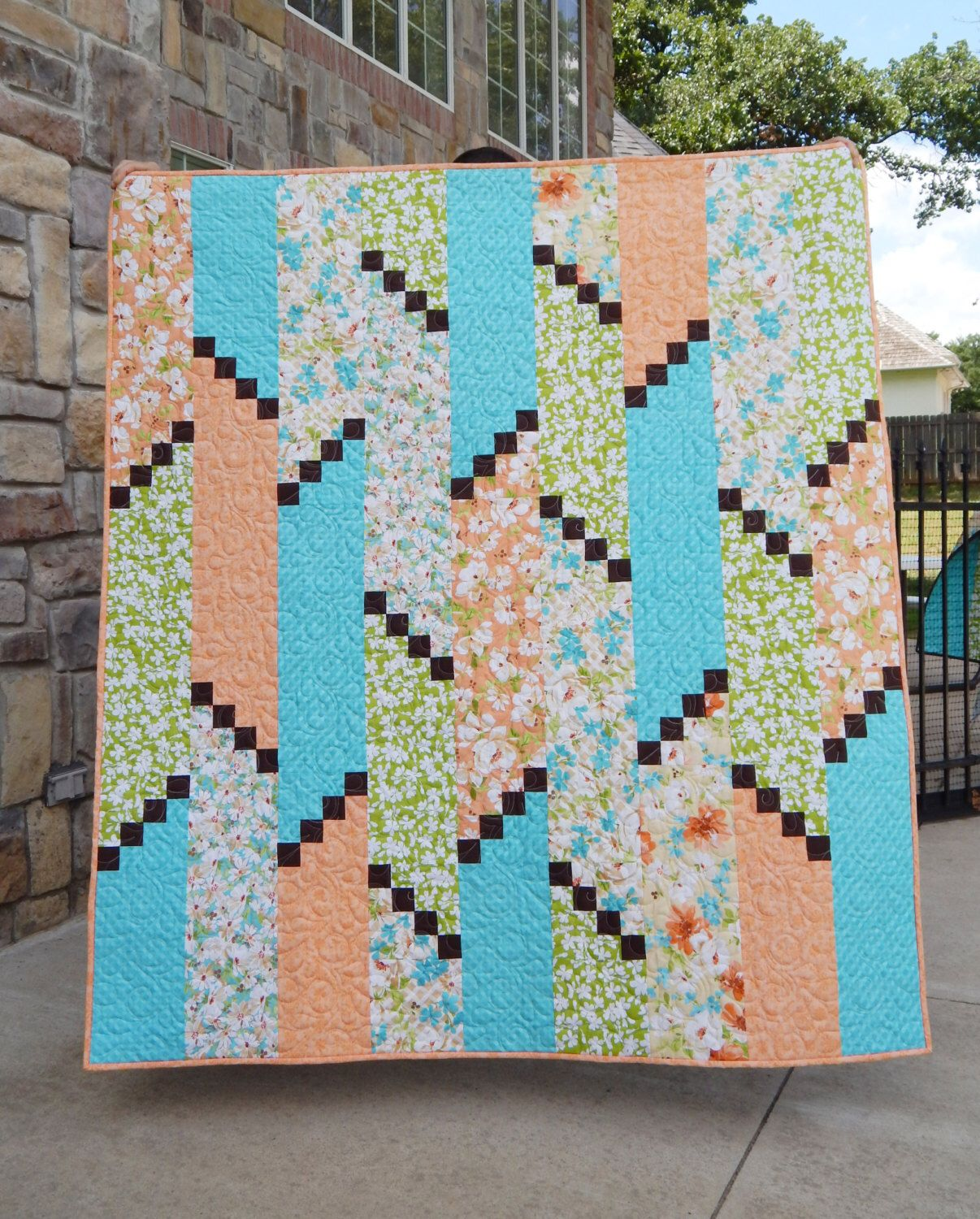 Handmade Modern Lap Quilt, Green Turquoise Orange Quilt, Flora Quilt by TheFlemingsNine on Etsy https://www.etsy.com/listing/257054814/handmade-modern-lap-quilt-green