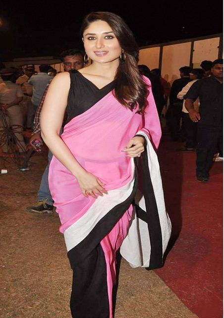 2ca5d1d326 Bollywood Actress Kareena Kapoor Raw Silk Saree in Pink and Black color