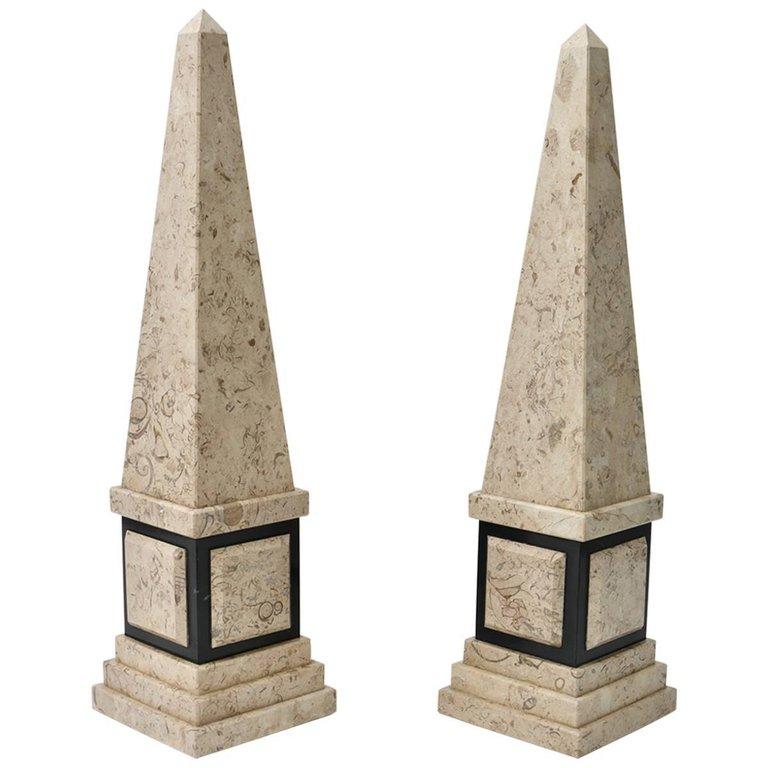 Pair Of Marble Obelisk In Tan And Black Black Marble Black Marble