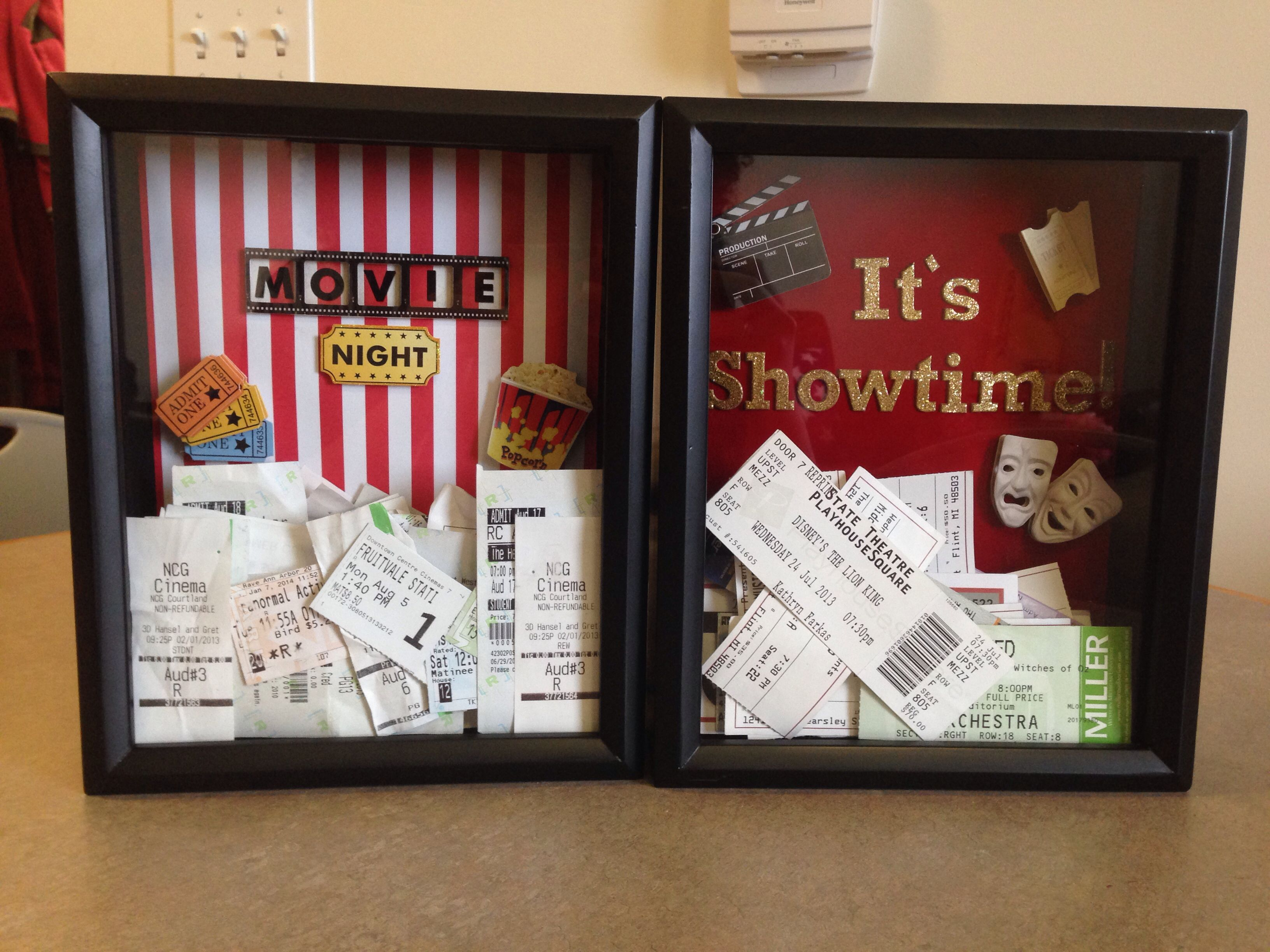 movie ticket show ticket shadow boxes i made after. Black Bedroom Furniture Sets. Home Design Ideas