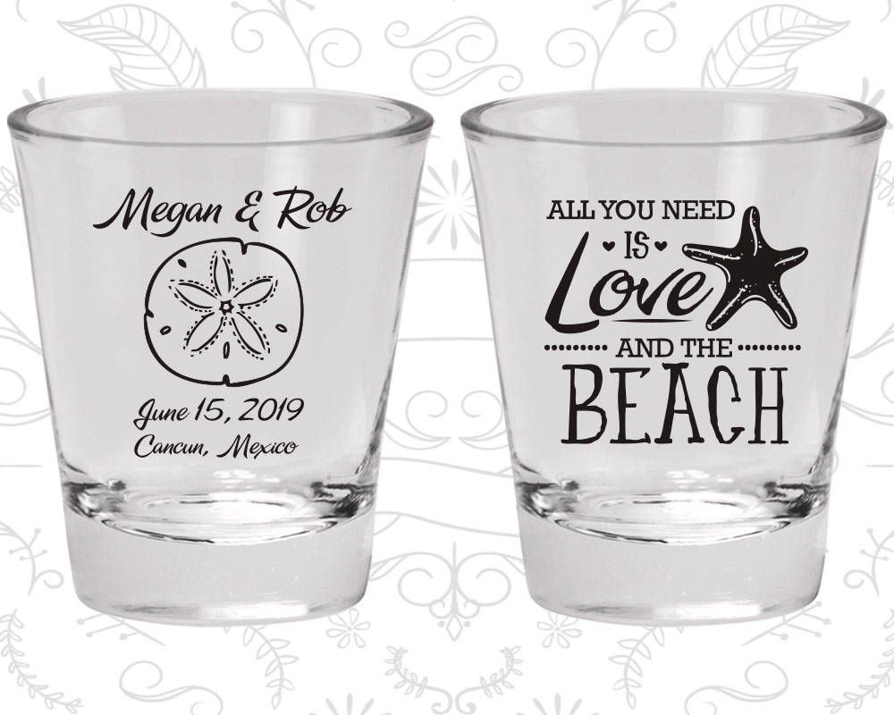 It all started on the beach Shooters Beach Wedding Shooters Starfish Wedding Personalized Shooter Glass 415 Tall Shot Glass