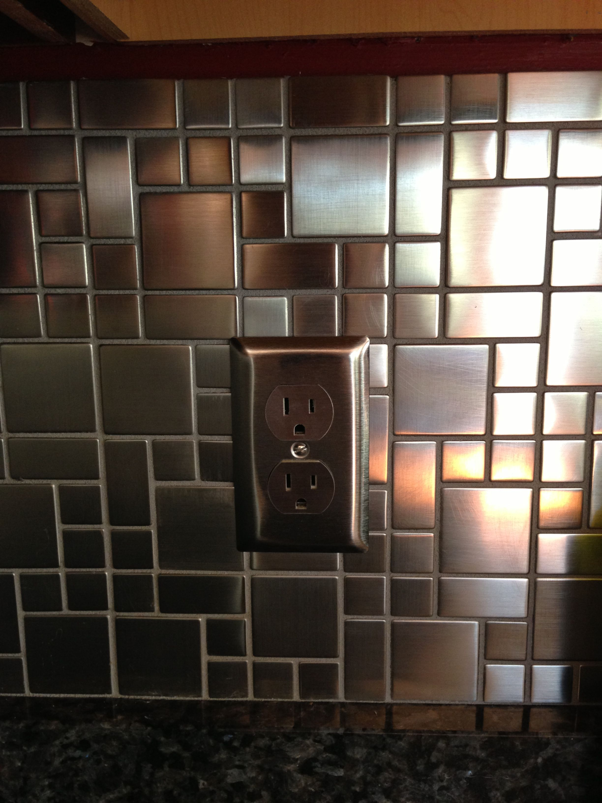Brushed Stainless Steel Backsplash Tiles And Matching Outlet