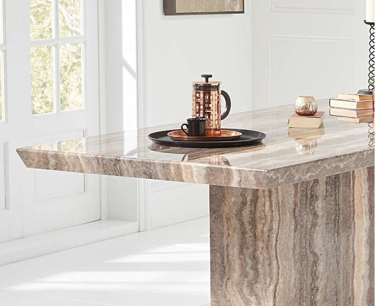 Brown Pedestal Marble Dining Table