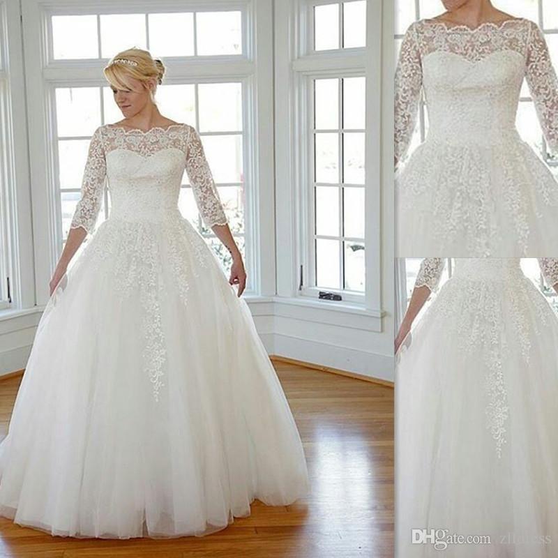 Plus Size Gothic Wedding Dresses 2016 2017: 2016 Plus Size Wedding Dresses Lace Sheer Bateau Neck