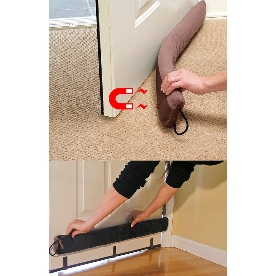 Evelots Magnetic Clip On Door Draft Stopper Cold Air Out