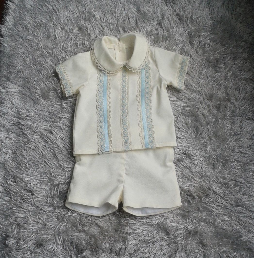 Baby Boy Blue And Ivory Outfit Baby Boy Baptism Outfit Pants And