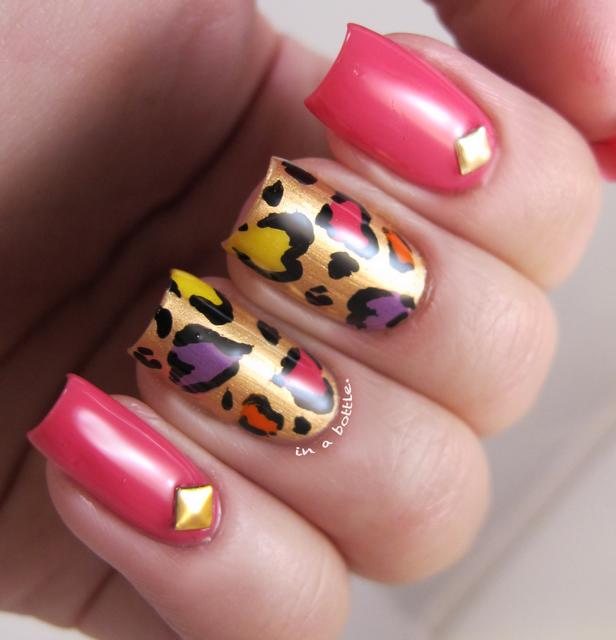 heart leopard print nail art